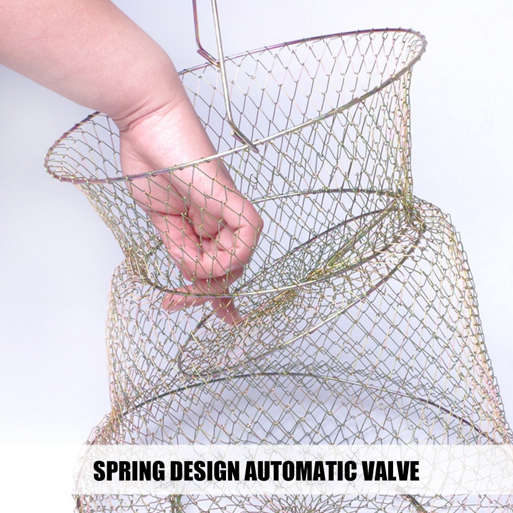 25x44cm Foldable Metal Net Fish Basket Steel Wire Fishing Cages for Fish Protection Supplies Outdoor Crab Angling Tackle