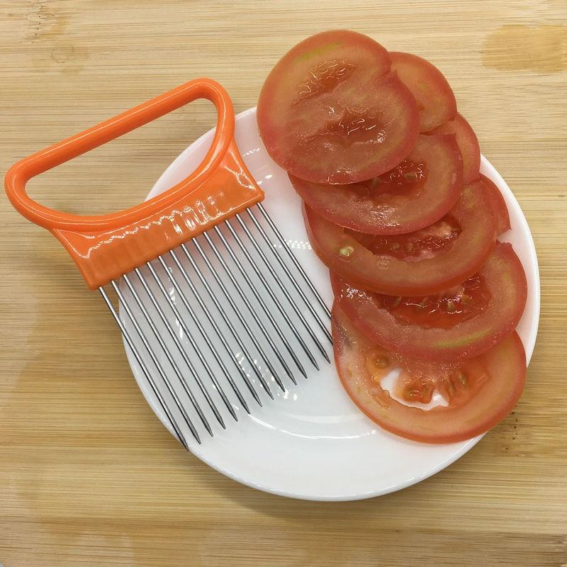 2021 New Shrendders & Slicers Tomato Onion Vegetables Slicer Cutting Aid Holder Guide Slicing Cutter Safe Fork Dropshipping