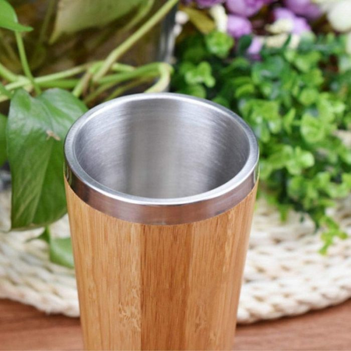 Insulated Bamboo Travel Mug Tumbler