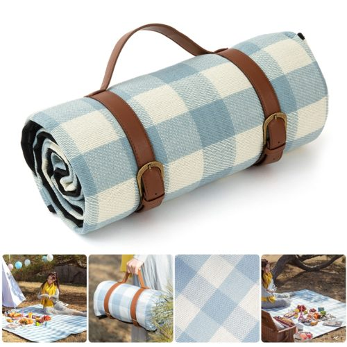 Blue Checkered Large Waterproof Picnic Blanket
