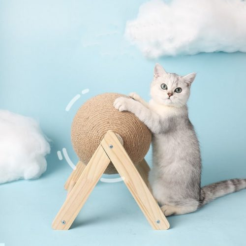 Cat Scratching Ball with Wooden Stand