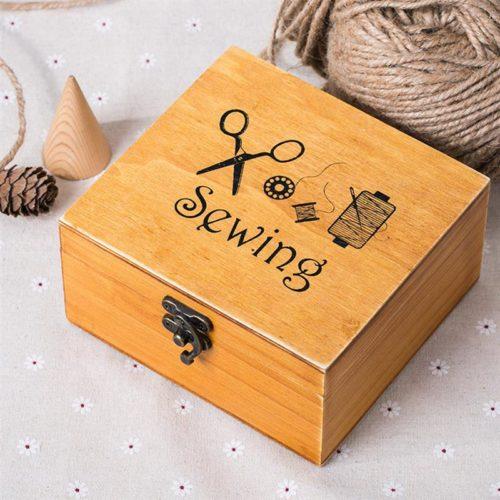 Vintage Wooden Sewing Box Supplies Kit