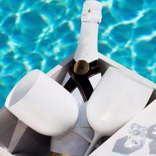White Plastic Champagne Flutes (2pcs)