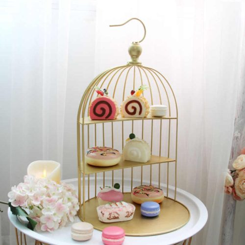Three-Tier Iron Bird Cage Cake Stand