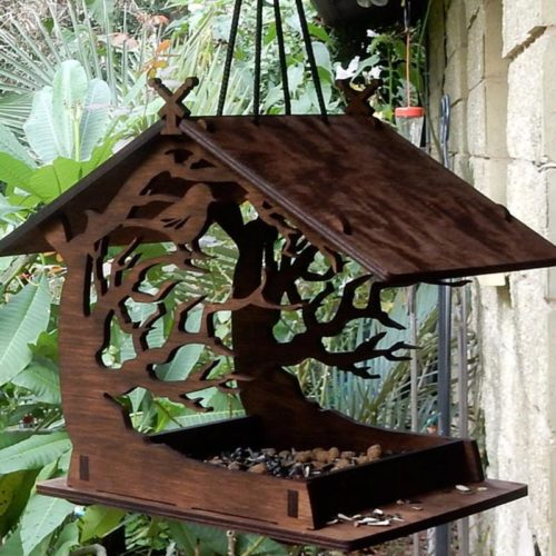 Hanging Wooden Bird House Feeder