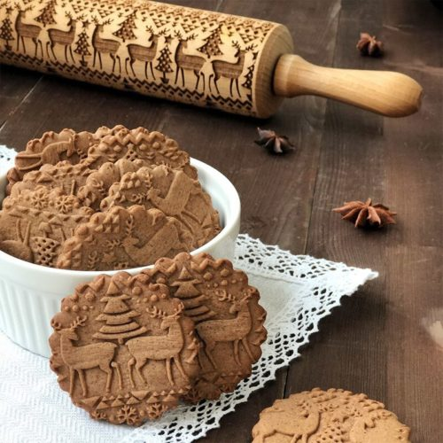 Wooden Christmas 3D Rolling Pin