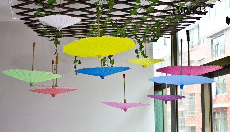 New White Paper Parasol Wedding Party Photography Prop Paper Umbrella Wedding Decorations Accessories Kids DIY painting Supplies