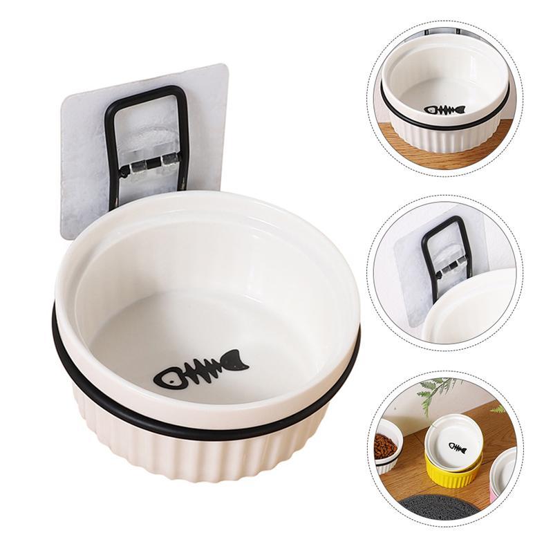 1 Set Wall-Mounted Cat Food Container Pet Ceramic Dog Feeder Hanging Pet Bowl