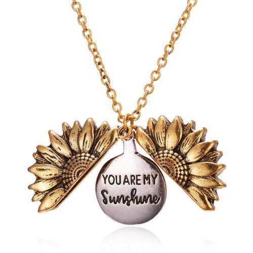 Open Locket Sunflower Pendant Necklace