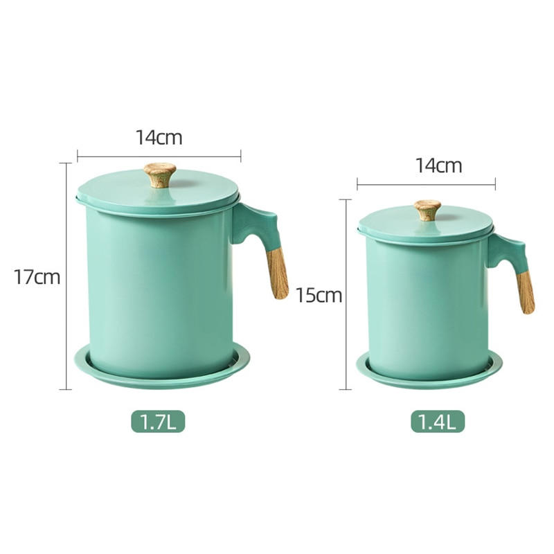 1.7L Oil strainer Pot Storage Grease Keeper for Kitchen,Grease Container with Strainer and Dust-Proof Lid,Oil Filter Pot