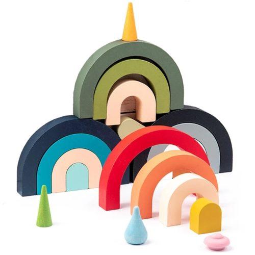 Montessori Wood Stacking Rainbow