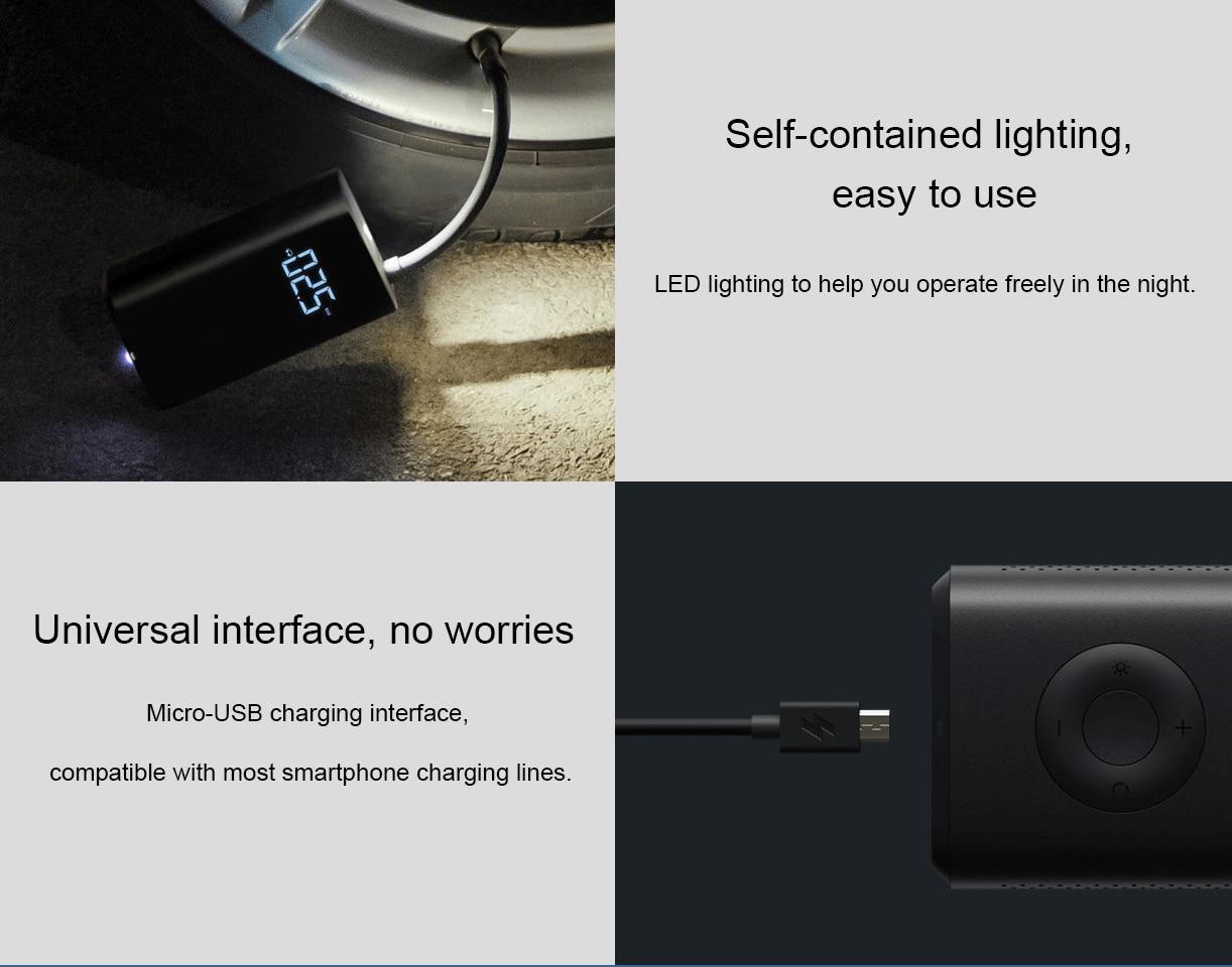 Xiaomi Mijia Inflator Portable Mini LED Smart Digital Tire Pressure Sensor Electric Pump For Bicycle Motorcycle Car Soccer