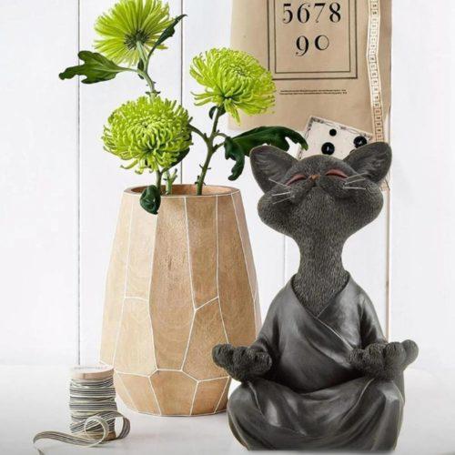 Meditating Cat Buddha Figure