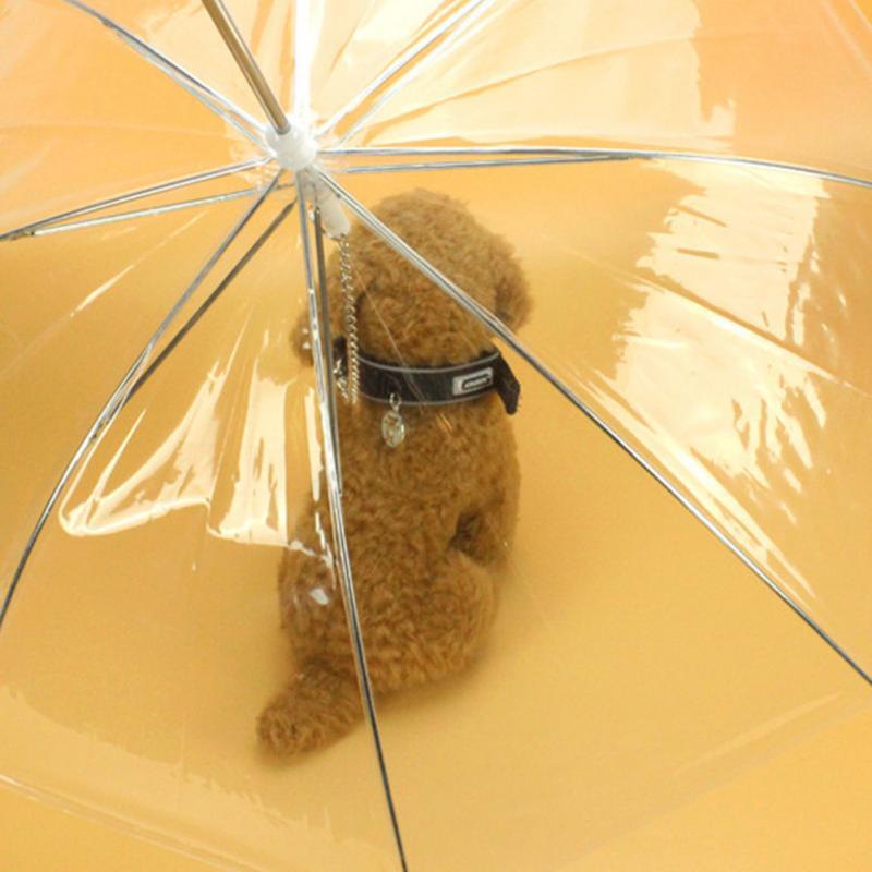 Pet Umbrella Transparent PE Small Dog Umbrella Rain Gear with Dog Leads Keeps Pet Dry Comfortable in Rain Snowing Useful