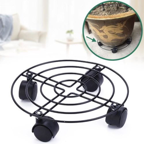 Round Metal Plant Tray with Wheels
