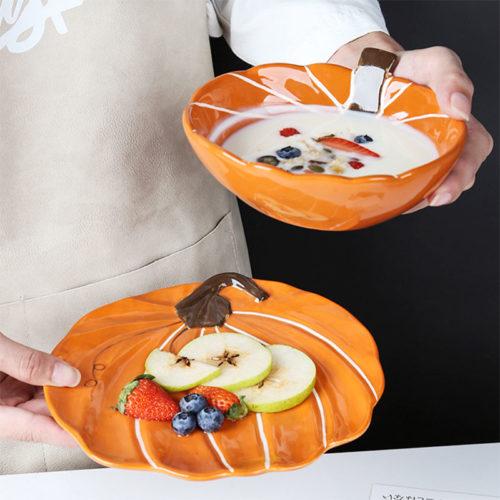 Ceramic Microwavable Pumpkin Bowl