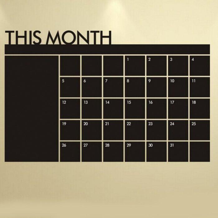 Self-Adhesive Black Chalkboard Calendar