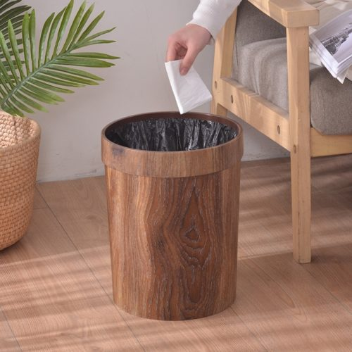 Retro-Style Wooden Trash Can