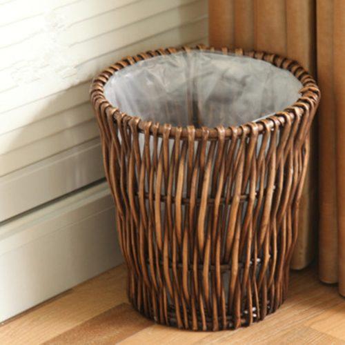 Eco-Friendly Natural Rattan Trash Can