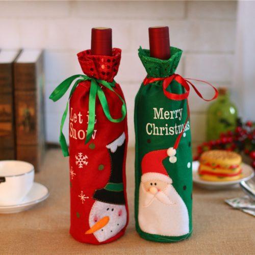 Reusable Cloth Christmas Wine Gift Bag
