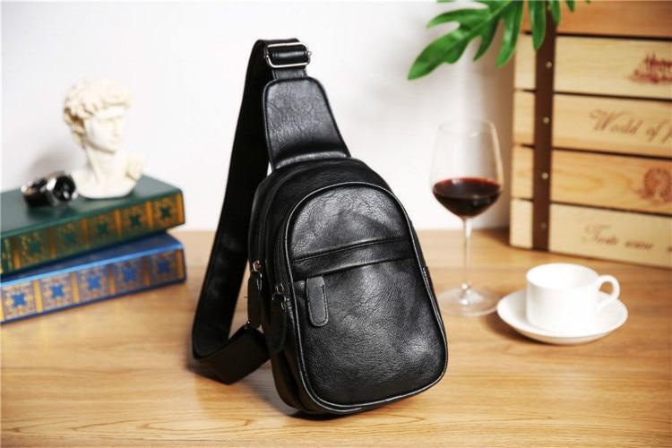 Fashion Simple Men's Small Chest Bag Messenger Bag Men's Korean Fashion Casual Soft Leather Shoulder Bag Outdoor Sports Backpack