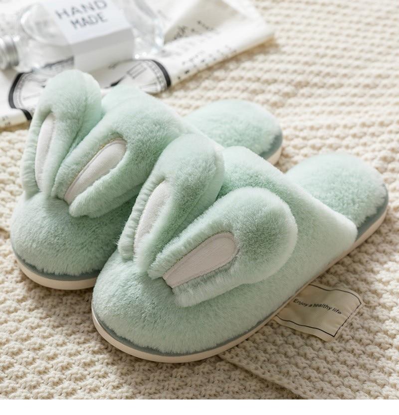 Fashion Women Slippers Winter Warm Fur Shoes Men Couples Cute Rabbit Ears Soft Sole Home Indoor Ladies Plush Slides Zapatillas