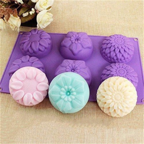 Silicone Flower Round Soap Molds