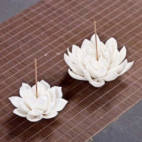 Ceramic White Lotus Incense Burner