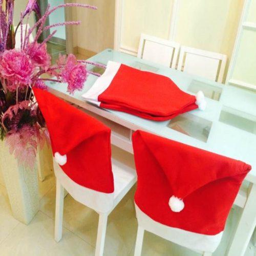 Christmas Chair Back Covers Santa Hat (1/4/6)