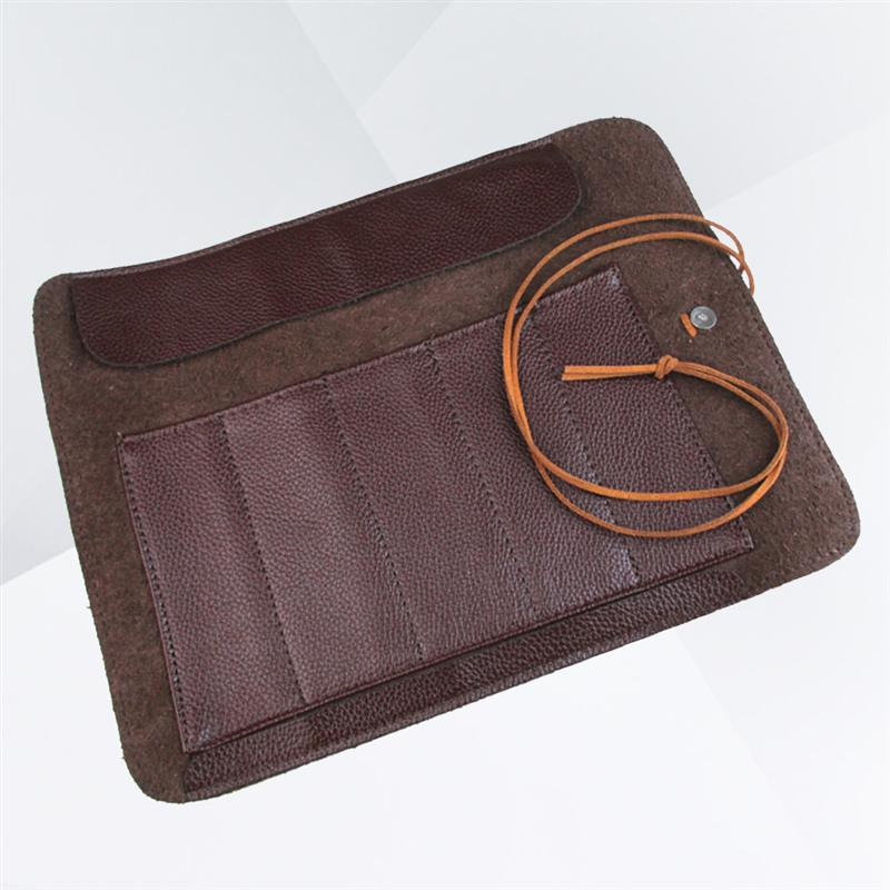Tools Knives Roll Up Bag Carving Pocket Knives Leather Bag Storage Organizer Leather Seal Engraving Roll-Up Knife Cover