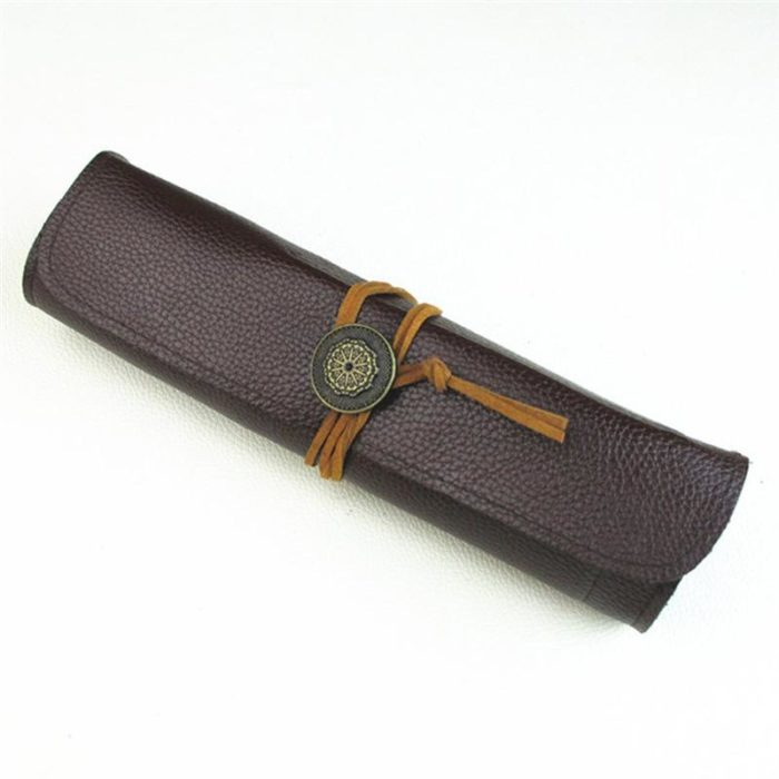 Leather Knife Roll Up Bag