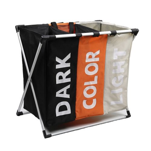 Three Section Laundry Hamper with Handles