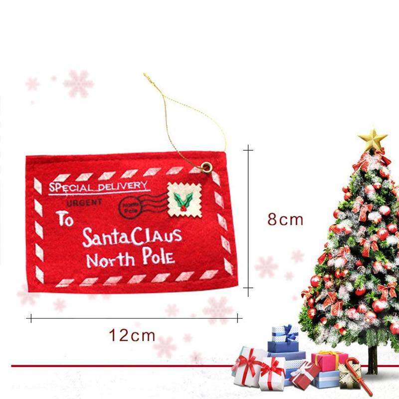 10pcs Letter Candy Bag To Santa Claus Felt Envelope Embroidery Christmas Decoration Ornament Children Kids Gifts