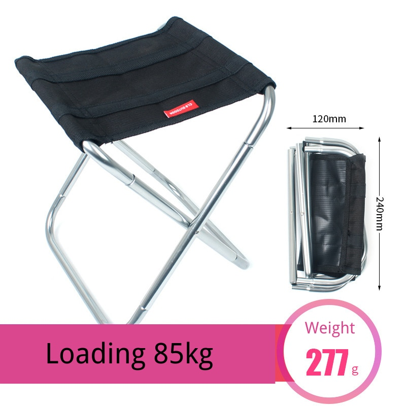 Ultralight Outdoor Folding Chair Camping Hiking Fishing Chair Travel Foldable Beach Chair Load Bearing 85kg BBQ Stool