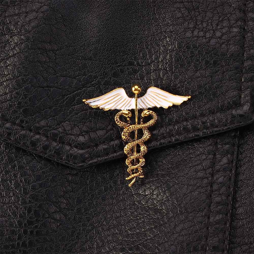 Crystal Caduceus Pins Badge Brooches Lapel Pin Medicine Symbol Jewelry Gifts For Nurse Doctor Medical Students Enamel Brooch Pin
