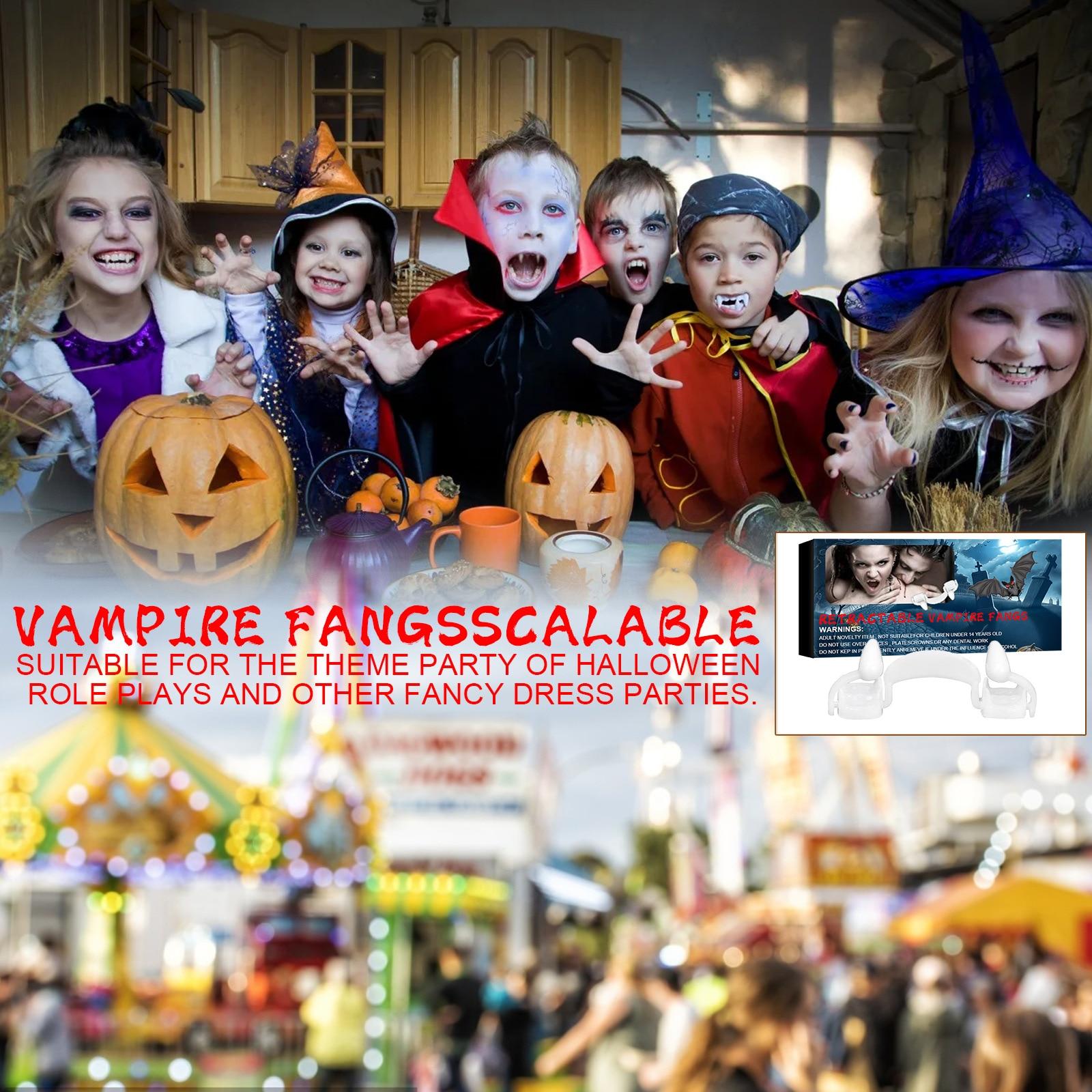 Halloween Teeth Decor Vampire Dentures Zombie Teeth Soft Silicone Horror Denture Prop Retractable Easy Mount Cosplay Props Decor