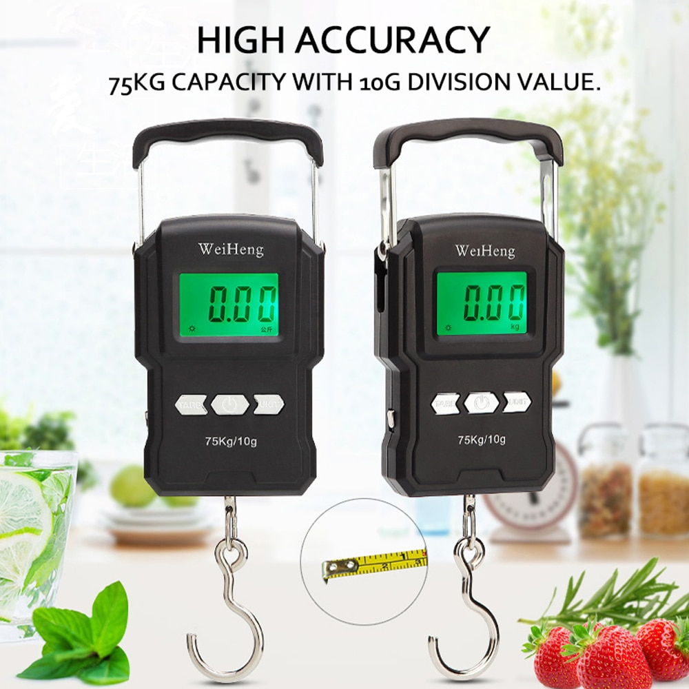 75Kg/10g Portable Digital Electronic Backlight Weighing Scale Fishing Postal Hanging Hook Scale with Measuring Tape