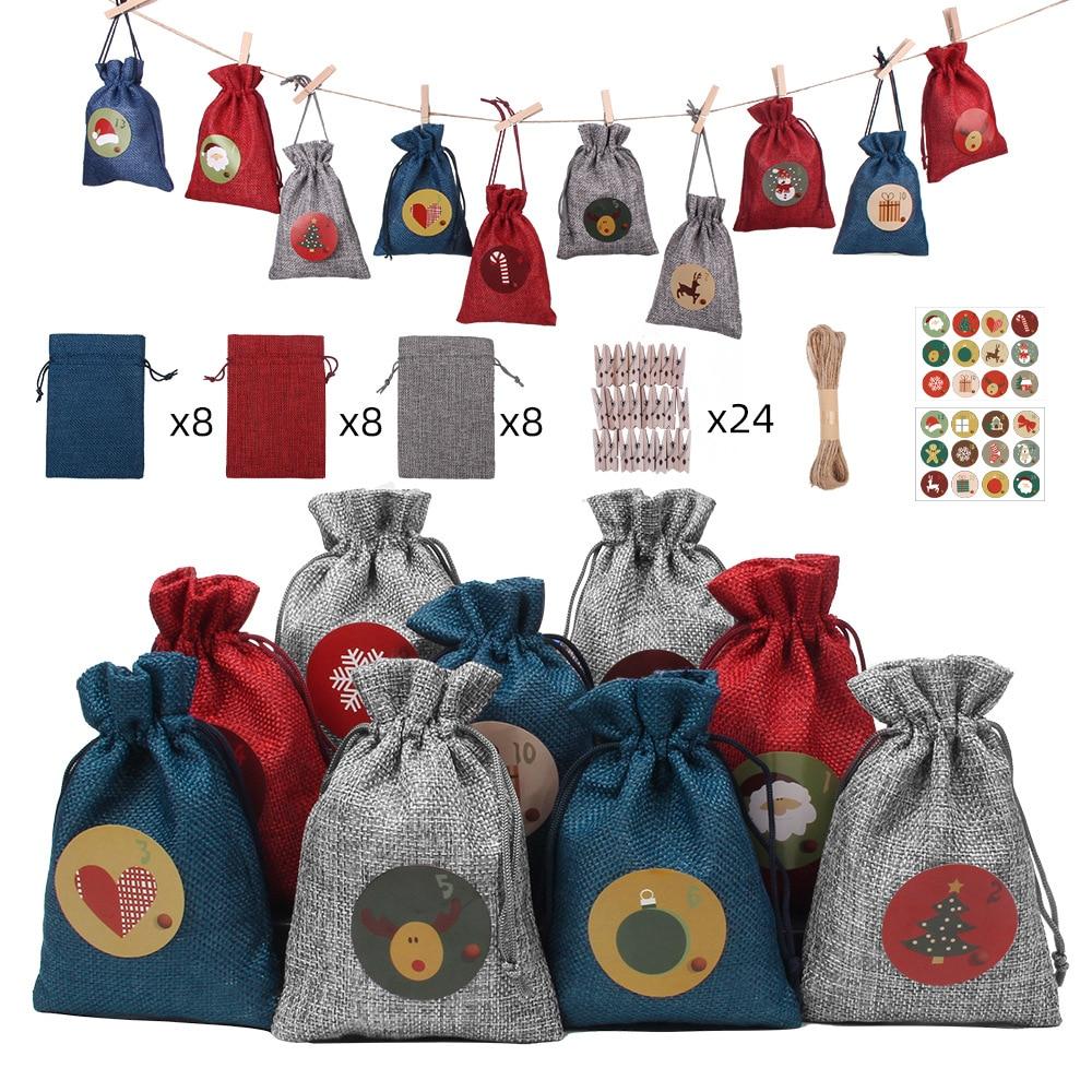 24pcs Set Christmas Advent Calendar Countdown Jute Candy Bag Drawstring Linen Bundle Pocket DIY Xmas Advent Calendrier Gift Bag