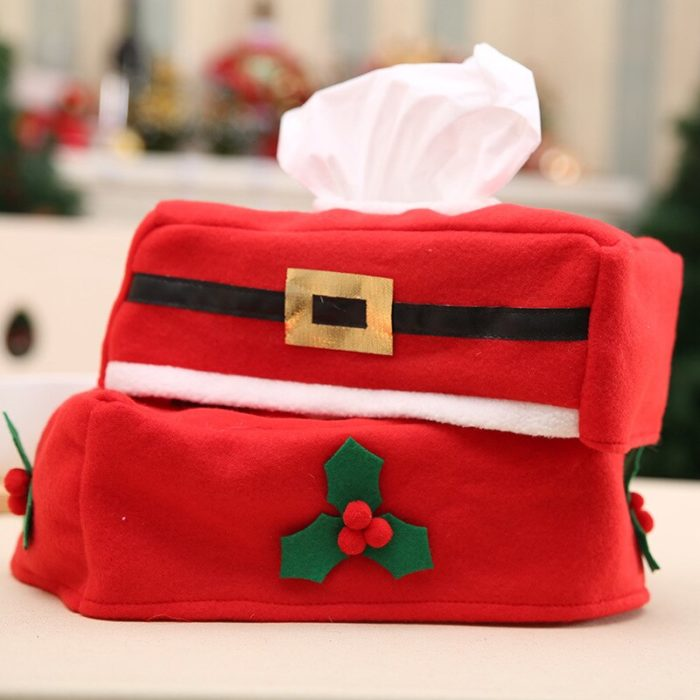 Red Cloth Christmas Tissue Box Cover
