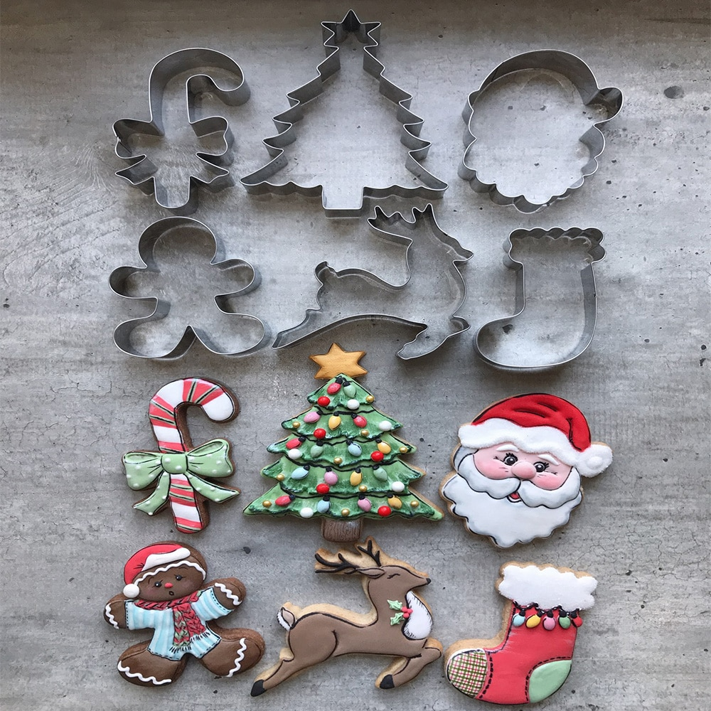KENIAO Christmas Tree with Star Cookie Cutter - 14.2 x 11 CM - Winter Biscuit Fondant Bread Sandwich Mold - Stainless Steel