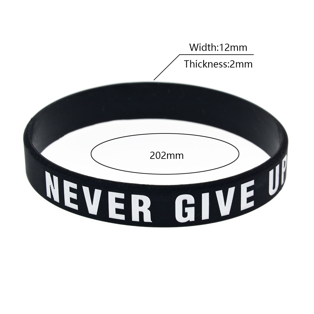 Trendy Minimalist Style Silicone Bracelet For Men Women Never Give Up No Pain No Gain Personality Sports Recognition Wristband