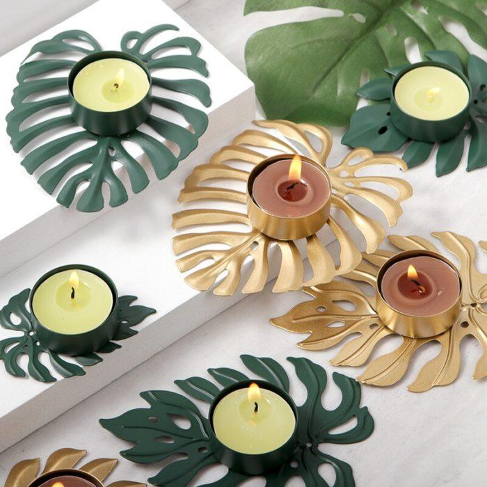 Metal Palm Leaf Candle Holder