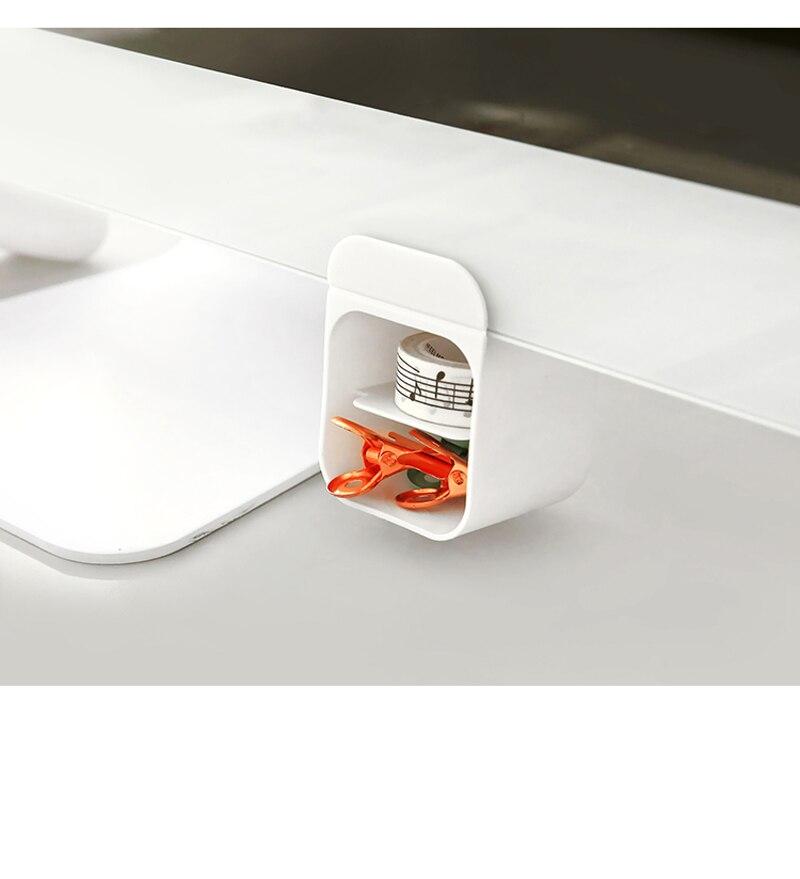 Creative Pasteable Pen Holder Desktop Storage Boxes Desk Pen Organizer Office Sundries Storage School Stationery Pencil Pot