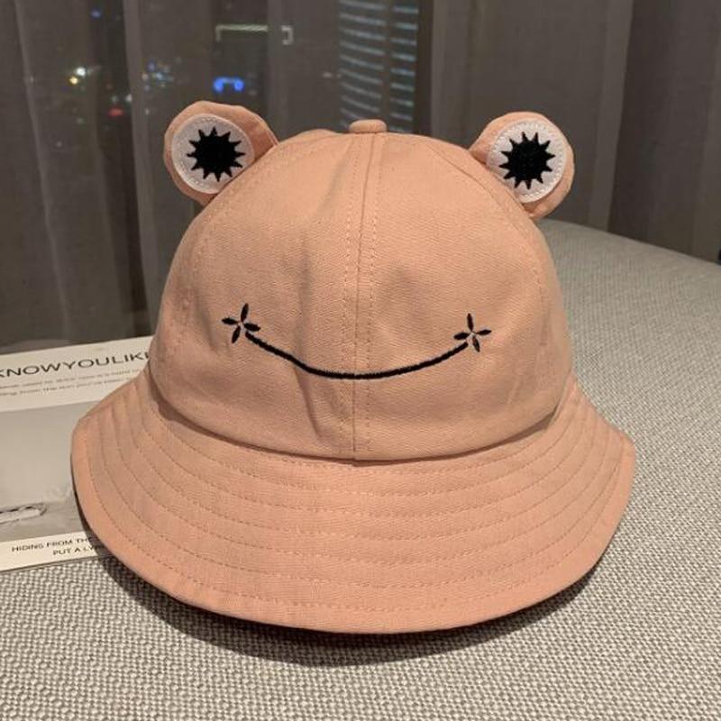2021 New Parent-Kid Cartoon Frog Bucket Hat Panama Fishing Cap Cute Froggy Hat Homme Femme Bob Chapeau Outdoor Sun Fisherman Hat