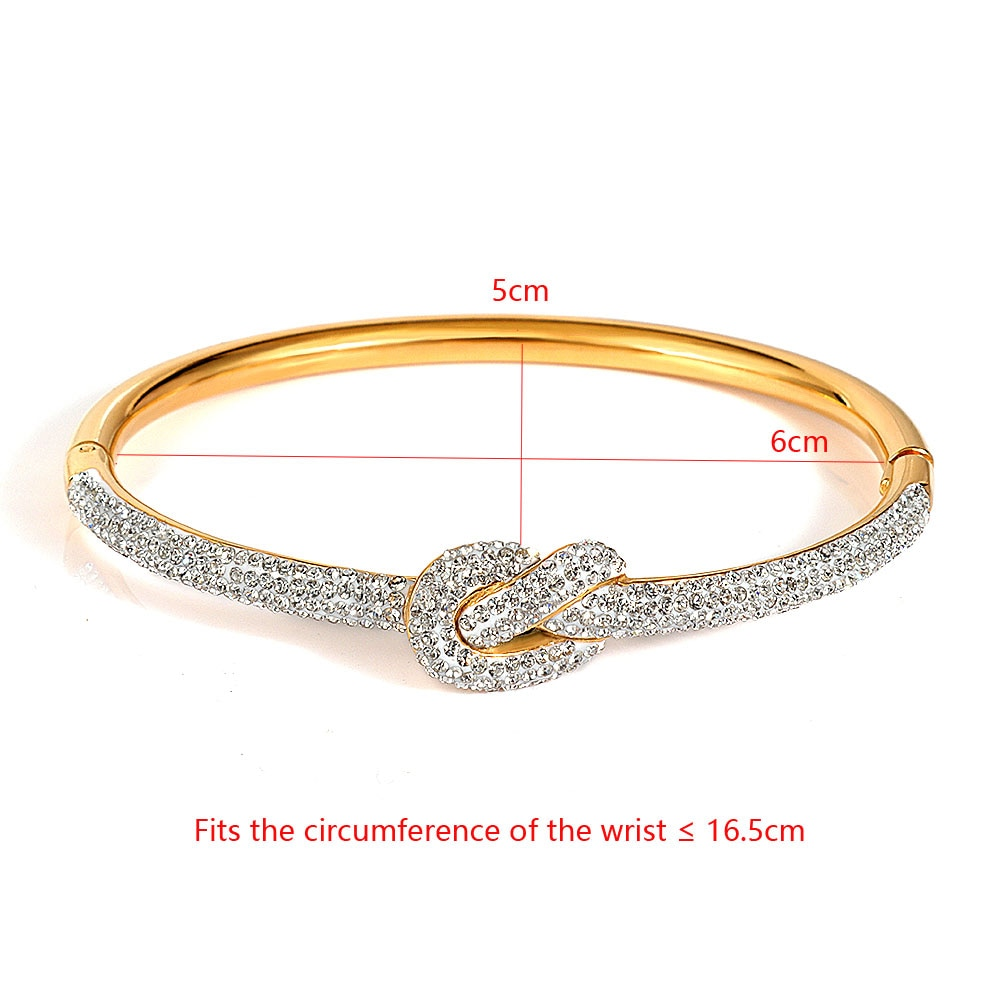FYSARA Cubic Zirconia Full Crystals Knot Bangles Bracelets For Women Lady Charm Party Jewelry Rose Gold Color Wristband Bangle
