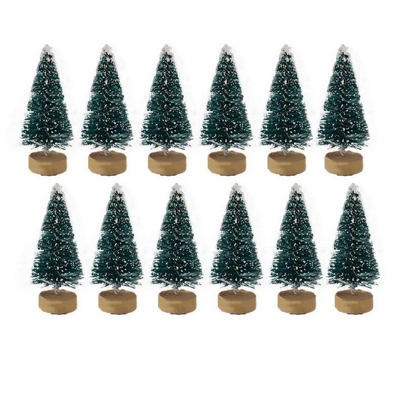 New 12Pcs Mini Christmas Tree Pine Tree DIY Christmas Decorations For Home Table Navidad Xmas Ornaments New Year Decor Kids Gift