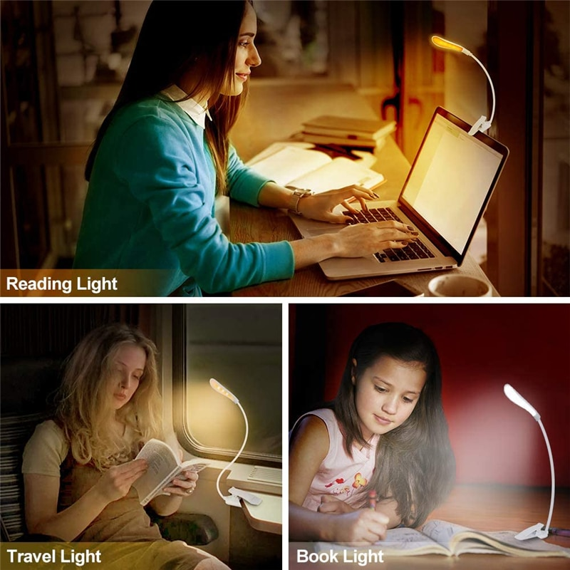 USB Rechargeable Clip-On Book Light 3 Color Book Lamp Adjustable Brightness Reading Lamp for Kids Sleep Aid Lights for Kindle