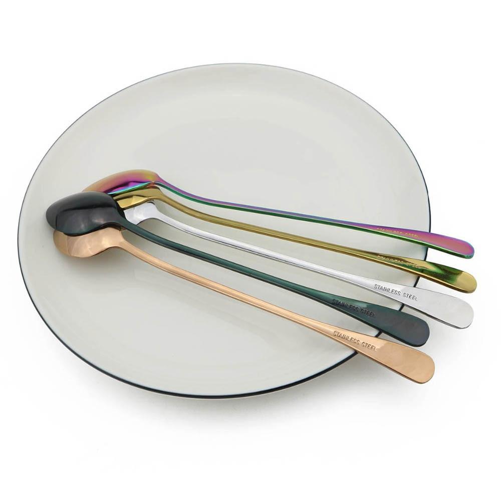Colorful Long Handled Teaspoons Juice Coffee Stirring Cutlery Stainless Steel Spoon Ice Cream Dessert Spoon Kitchen Accessories