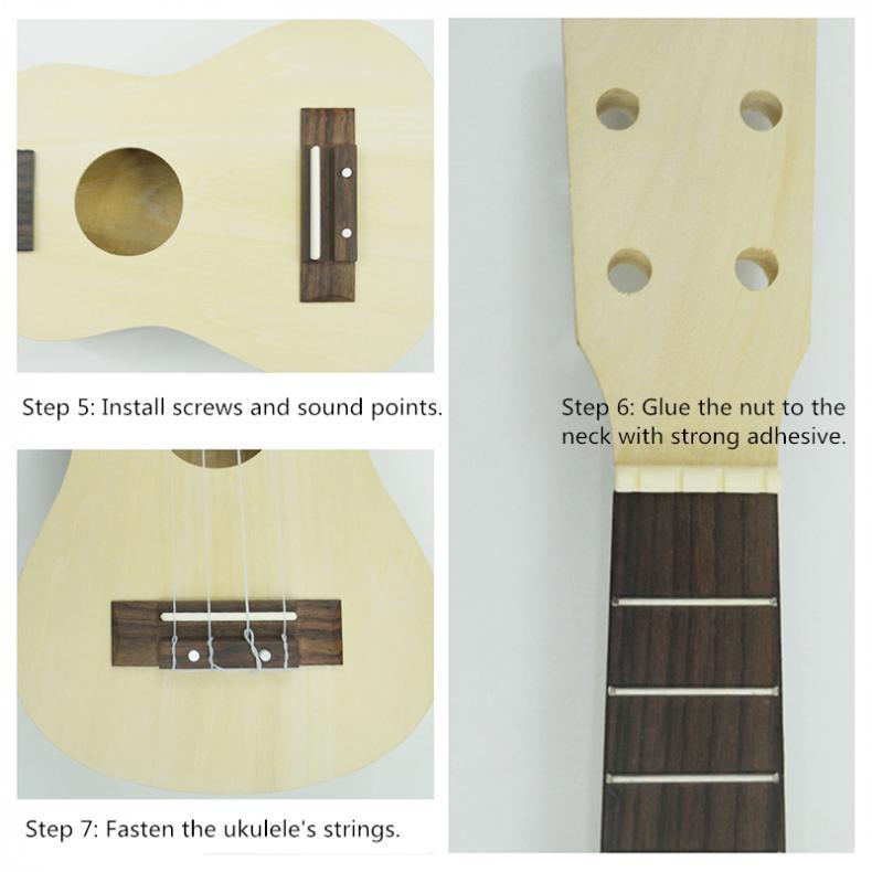 21 Inch Ukulele DIY Kit Hawaii Guitar Ukelele Handwork Support Painting Kids Children Toy Assembly for Beginner Amateur
