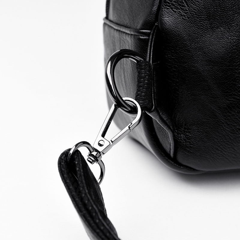 Leather Rucksack for Women with Zipper Pocket